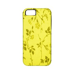 Flowery Yellow Fabric Apple Iphone 5 Classic Hardshell Case (pc+silicone)