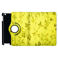 Flowery Yellow Fabric Apple Ipad 3/4 Flip 360 Case