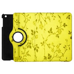 Flowery Yellow Fabric Apple Ipad Mini Flip 360 Case