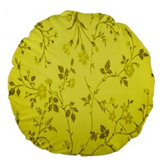 Flowery Yellow Fabric Large 18  Premium Round Cushions