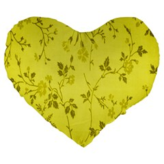 Flowery Yellow Fabric Large 19  Premium Heart Shape Cushions