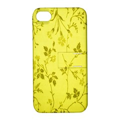 Flowery Yellow Fabric Apple iPhone 4/4S Hardshell Case with Stand