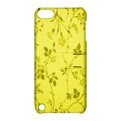 Flowery Yellow Fabric Apple iPod Touch 5 Hardshell Case with Stand