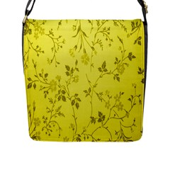 Flowery Yellow Fabric Flap Messenger Bag (l)