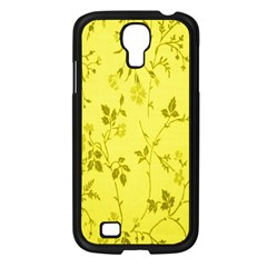 Flowery Yellow Fabric Samsung Galaxy S4 I9500/ I9505 Case (Black)
