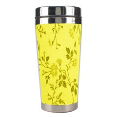 Flowery Yellow Fabric Stainless Steel Travel Tumblers