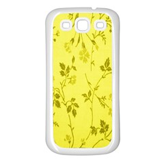 Flowery Yellow Fabric Samsung Galaxy S3 Back Case (white)