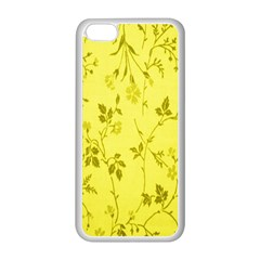 Flowery Yellow Fabric Apple iPhone 5C Seamless Case (White)