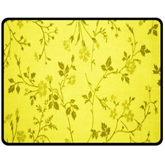 Flowery Yellow Fabric Double Sided Fleece Blanket (Medium)