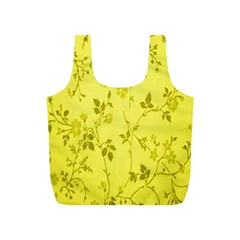 Flowery Yellow Fabric Full Print Recycle Bags (s)