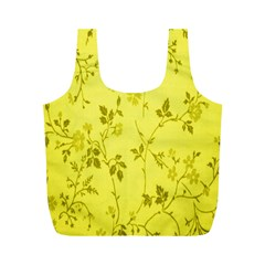 Flowery Yellow Fabric Full Print Recycle Bags (M)