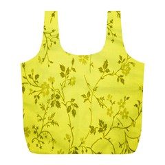 Flowery Yellow Fabric Full Print Recycle Bags (L)