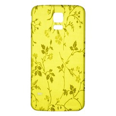 Flowery Yellow Fabric Samsung Galaxy S5 Back Case (white)