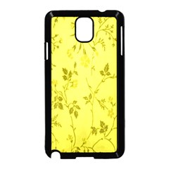 Flowery Yellow Fabric Samsung Galaxy Note 3 Neo Hardshell Case (Black)