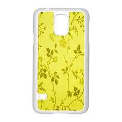 Flowery Yellow Fabric Samsung Galaxy S5 Case (White)