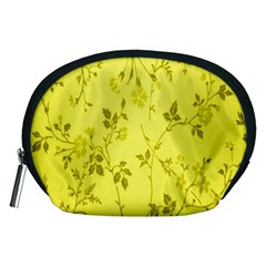 Flowery Yellow Fabric Accessory Pouches (Medium)