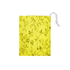 Flowery Yellow Fabric Drawstring Pouches (Small)