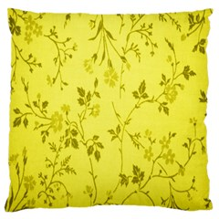 Flowery Yellow Fabric Large Flano Cushion Case (One Side)