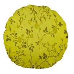 Flowery Yellow Fabric Large 18  Premium Flano Round Cushions