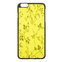 Flowery Yellow Fabric Apple iPhone 6 Plus/6S Plus Black Enamel Case