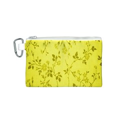 Flowery Yellow Fabric Canvas Cosmetic Bag (S)