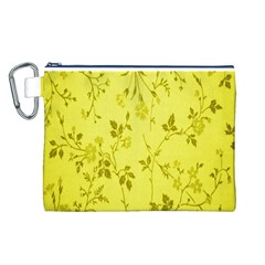 Flowery Yellow Fabric Canvas Cosmetic Bag (L)