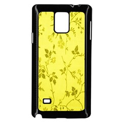 Flowery Yellow Fabric Samsung Galaxy Note 4 Case (Black)