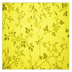 Flowery Yellow Fabric Large Satin Scarf (Square)