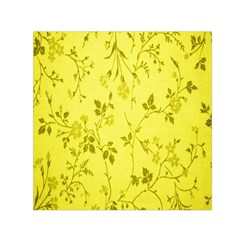 Flowery Yellow Fabric Small Satin Scarf (Square)