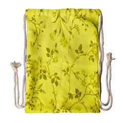 Flowery Yellow Fabric Drawstring Bag (Large)