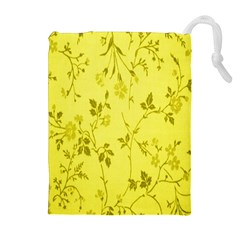 Flowery Yellow Fabric Drawstring Pouches (extra Large)