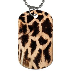 Giraffe Texture Yellow And Brown Spots On Giraffe Skin Dog Tag (One Side)