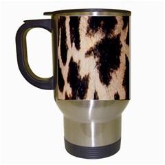 Giraffe Texture Yellow And Brown Spots On Giraffe Skin Travel Mugs (White)