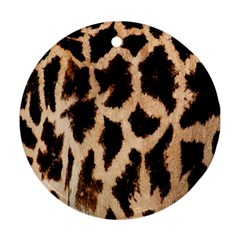 Giraffe Texture Yellow And Brown Spots On Giraffe Skin Round Ornament (two Sides)