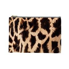 Giraffe Texture Yellow And Brown Spots On Giraffe Skin Cosmetic Bag (Large)