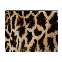 Giraffe Texture Yellow And Brown Spots On Giraffe Skin Cosmetic Bag (XL)