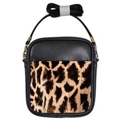 Giraffe Texture Yellow And Brown Spots On Giraffe Skin Girls Sling Bags