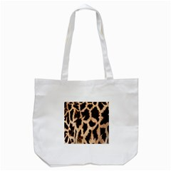 Giraffe Texture Yellow And Brown Spots On Giraffe Skin Tote Bag (white)