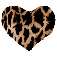 Giraffe Texture Yellow And Brown Spots On Giraffe Skin Large 19  Premium Flano Heart Shape Cushions