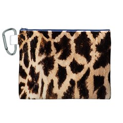 Giraffe Texture Yellow And Brown Spots On Giraffe Skin Canvas Cosmetic Bag (xl)