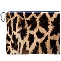 Giraffe Texture Yellow And Brown Spots On Giraffe Skin Canvas Cosmetic Bag (XXXL)