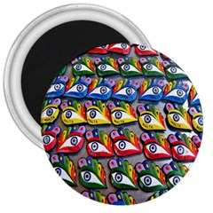 The Eye Of Osiris As Seen On Mediterranean Fishing Boats For Good Luck 3  Magnets