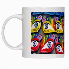 The Eye Of Osiris As Seen On Mediterranean Fishing Boats For Good Luck White Mugs