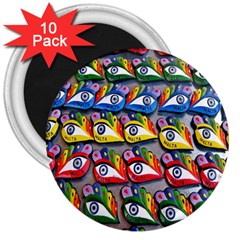 The Eye Of Osiris As Seen On Mediterranean Fishing Boats For Good Luck 3  Magnets (10 pack)