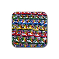 The Eye Of Osiris As Seen On Mediterranean Fishing Boats For Good Luck Rubber Square Coaster (4 pack)