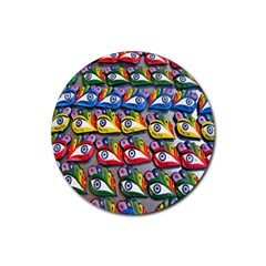 The Eye Of Osiris As Seen On Mediterranean Fishing Boats For Good Luck Rubber Coaster (Round)