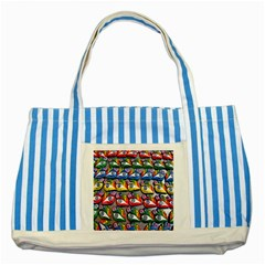 The Eye Of Osiris As Seen On Mediterranean Fishing Boats For Good Luck Striped Blue Tote Bag