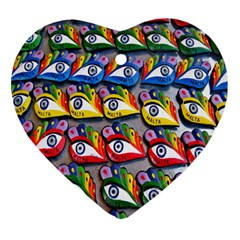 The Eye Of Osiris As Seen On Mediterranean Fishing Boats For Good Luck Heart Ornament (Two Sides)