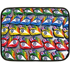The Eye Of Osiris As Seen On Mediterranean Fishing Boats For Good Luck Double Sided Fleece Blanket (Mini)