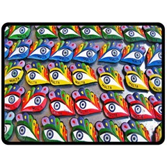 The Eye Of Osiris As Seen On Mediterranean Fishing Boats For Good Luck Fleece Blanket (Large)